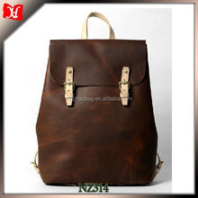Retro Camping Hiking brown leather Military Tactical Backpack drawstring backpack laptop bag