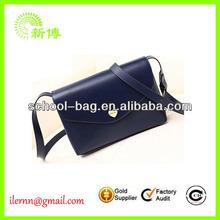 Blue patchwork leather women satchel bag