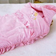 Pink bear Crystal velvet baby sleeping bag