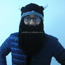 2015 winter men hats handmade crochet viking beard beanies knit beard beanie hat