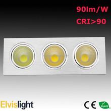 3 head COB down light 3x20W three lamps in one fixture 3000lm downlight 3x10W 3x15W 3x20W