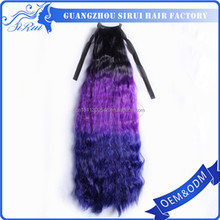 Wholesale 50% animal mix 50% synthetic hair, mixed hair extension, animal hair extension wrap around ponytail