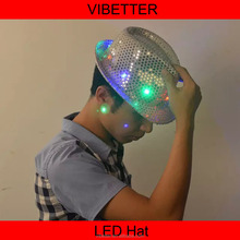 2015 new Led flashing fedora sequins hat neon color Happy new year hat
