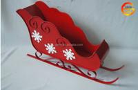 Hot sale red iron Christmas sleigh decor