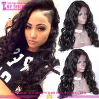 New fashion middle part full lace wigs for black wome remy brazilian human hair short lace wigs for sale