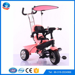 new arrival kids tricycle with sun shade and handlebar,children trike multi colors,multi functional baby tricycle