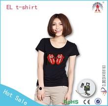 el falshing ladies t-shirt / panel el t-shirt wholesale / custom led panel design for your own el t-shirt