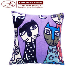 new products 2016 china supplier home cartoon cat embroidered 50*50 throw pillow cushion hand sofa cover design cushion cover
