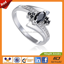 White Gold Plated CZ ring o black Crystal party Rings men jewelry 7#8#9 Sizes Wholesale