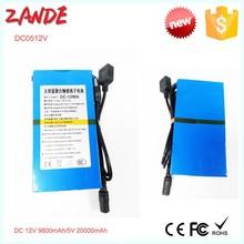 New customized small rechargeable 5V 12V Lithium battery pack for LED light 9800mah/5V 20000mah