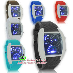 WYD-227 Speedometer LED watch/ Rubber band digital time showing high quality 1 year warranty China watch factory /manufacturer