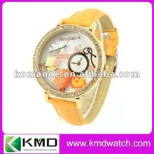 New style 3D watch with cartoon animal and flowers on dial