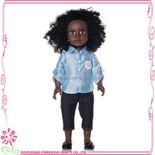 Moda africano toy dark da pele costume 18 '' brinquedo preto com cabelo afro