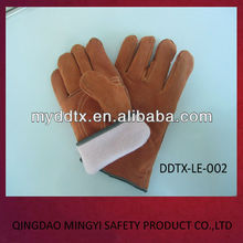 Short sleeves Brown leather welding work gloves