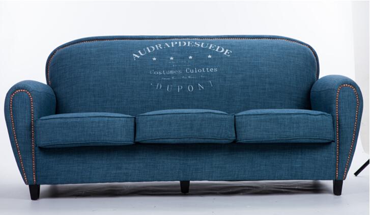Vintage oceaan blauwe stof sofa ontwerp, linnen sofa kinderen ...