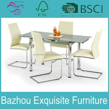 2015 modern high quality glass dining table with four chair for sale