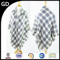 GDK0082 2015 New fashion women blanket fringe oversize plaid shawl scarf wholesale