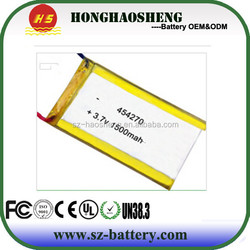 OEM&ODM Supplier 454270 3.7v 1500mah lipo battery