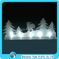 wholesale acrylic LED glitter happy trendy Mini snowman Christmas decor gift, acrylic trendy christmas gifts hot sell