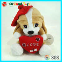 Hot Sell plush valentines day dog toy