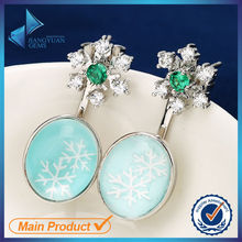 Created design big diamond gemstone earrings holiday style
