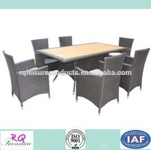 los muebles hechos en china para uso del jardín de alumbre marco juego de comedor de madera ps tapa de la mesa