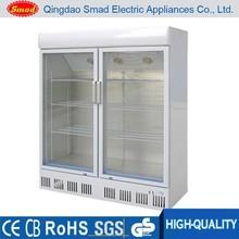 double glass door supermarket showcase refrigerator/showcase cooler/display case