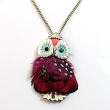 2015 Wholesale fashion decorative feather owl pendant necklace