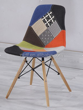 Cheap desings Colorful Fabric Plastic dining Chair with wood leg