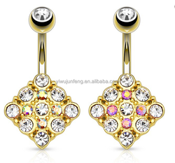 14k Gold Plated Diamond Shaped Fancy Belly Ring