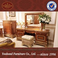 0062 Antique luxury hand carved wooden bedroom dresser furniture