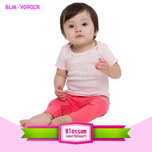 Baby Girls blank Top Beautiful Infant Baby Rib Short Sleeve Lap T-shirt pale pink