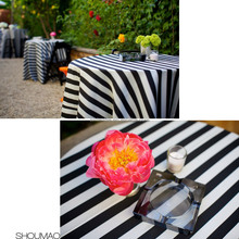 cheap luxury white and black sripe round table cloth