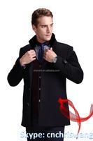 New design black Long wool coat