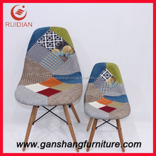 Children fabric chair plastic chair dining chair with wood legs