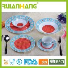 Porcelain bright colored dinnerware set for 4 people, polka dot dinnerware set