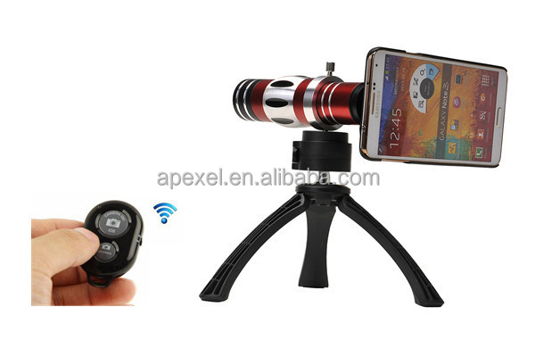 Mobile 18x optical zoom telescope lens and 150x macro lens with case