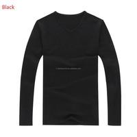 Kingson clothing mens branded long sleeve V neck combed cotton T-shirt of spring