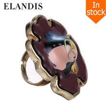 E-ELANDIS enamel flower ring zinc alloy adjustable rings for women hand painted big metal finger jewelry bague femme anel femini