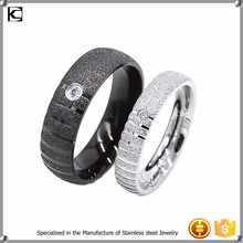 2015 new design stainless steel zircon dull polish sand surface couple ring