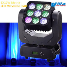 Beam& Wash 9x10W RGBW 4 in 1 Matrix LED Moving Head with Colorful Beam