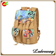 Women's Mix And Match Style Vintage Flower Printed Canvas Backpacks With Double Outside Bags for teenage girls travel