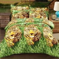 Factory wholesale leopard pattern American size bed sheet set 3d cotton Russian bed linen