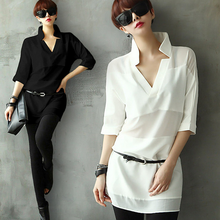 W50398Q 2015 Straight sleeve chiffon shirt sexy Europe and America shirt loose shirt female summer