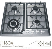 Double burner portable gas stove with cast iron grill
