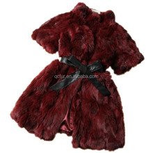 QC2161-7 red women natural real patchwork rabbit fur coat waistcoat jacket with leather belt