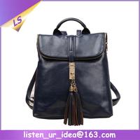 Fancy tassel female style custom leather backpack