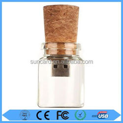 Professional glass jar usb 2.0 flash drive with factory price