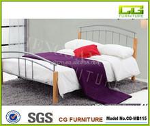 Top hot Simple Design Wood slats base without mattress wood leg metal bed