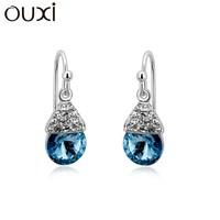 OUXI silver diamond drop earring, silver jewelry cystals from swarovski Y20099